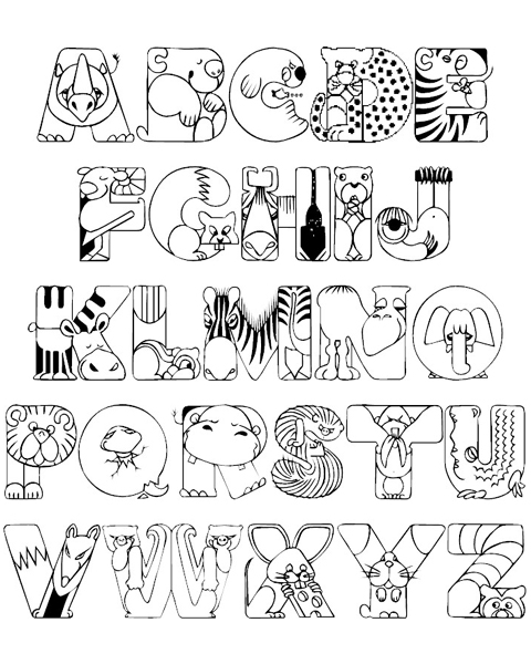 480x600 Crazy Zoo Alphabet Coloring Pages Abc Coloring Pages