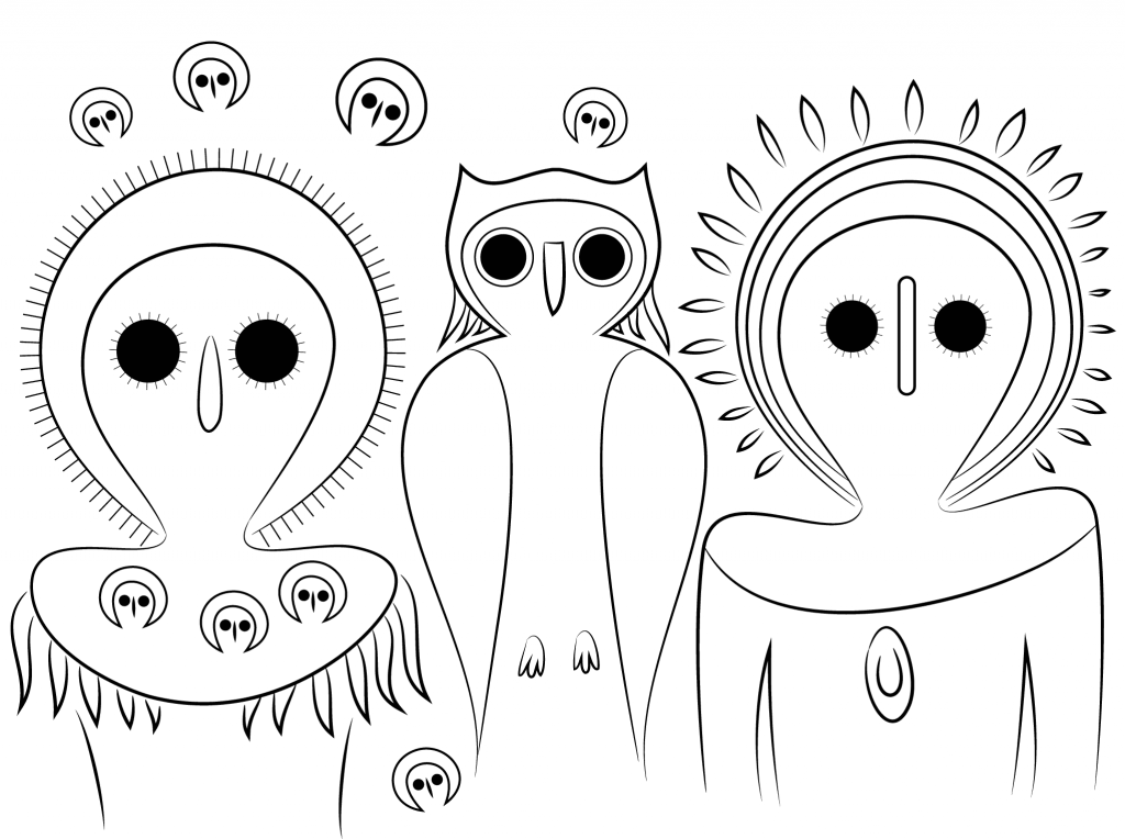 1024x764 Aboriginal Owls Image For Coloring Pages