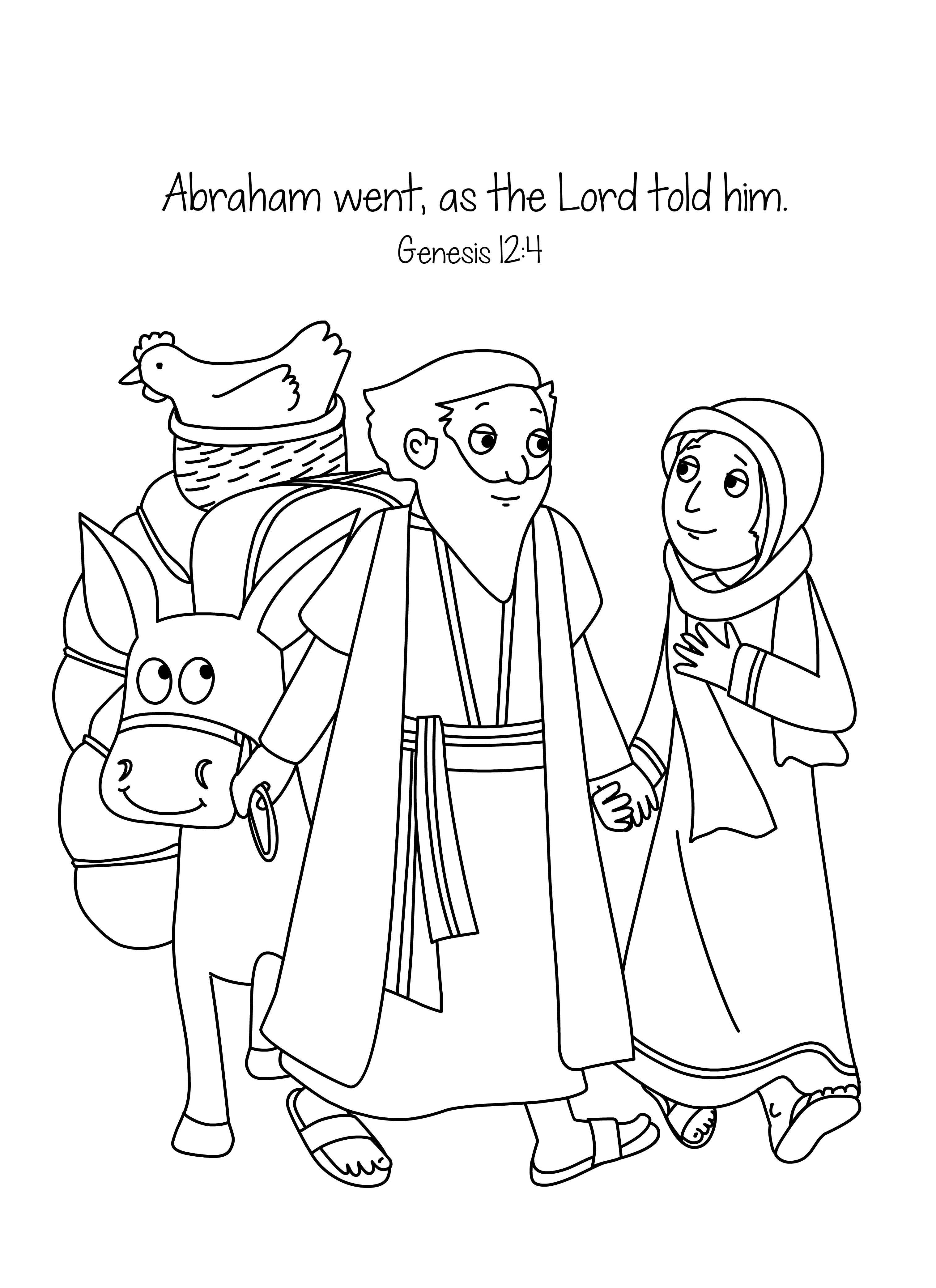 3028x4167 Abraham And Sara A New Home Bible Lesson Bible Coloring Page