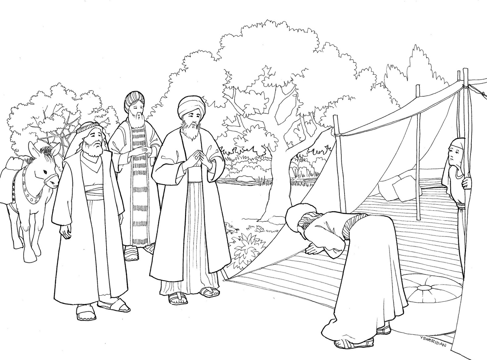 1600x1181 Abraham And Sara A New Home Bible Lesson Coloring Page Best