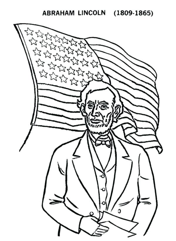 600x821 Abraham Lincoln Coloring Page And Us Flag On Us Presidents Day