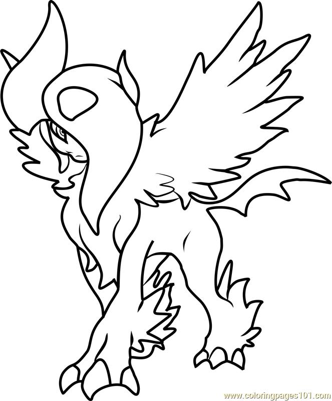 663x800 Mega Absol Pokemon Coloring Page
