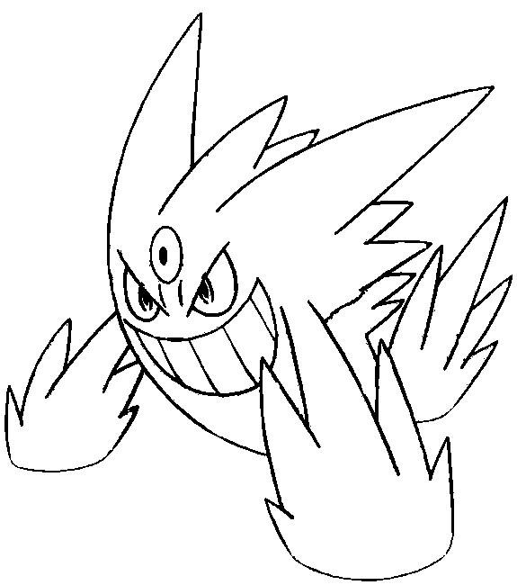 575x650 Coloring Page Mega Evolved Pokemon Mega Gengar