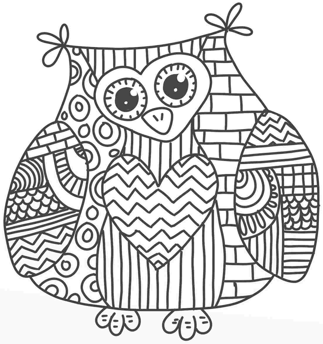 1101x1173 Coloring Pages Adults Abstract Owls Download Coloring