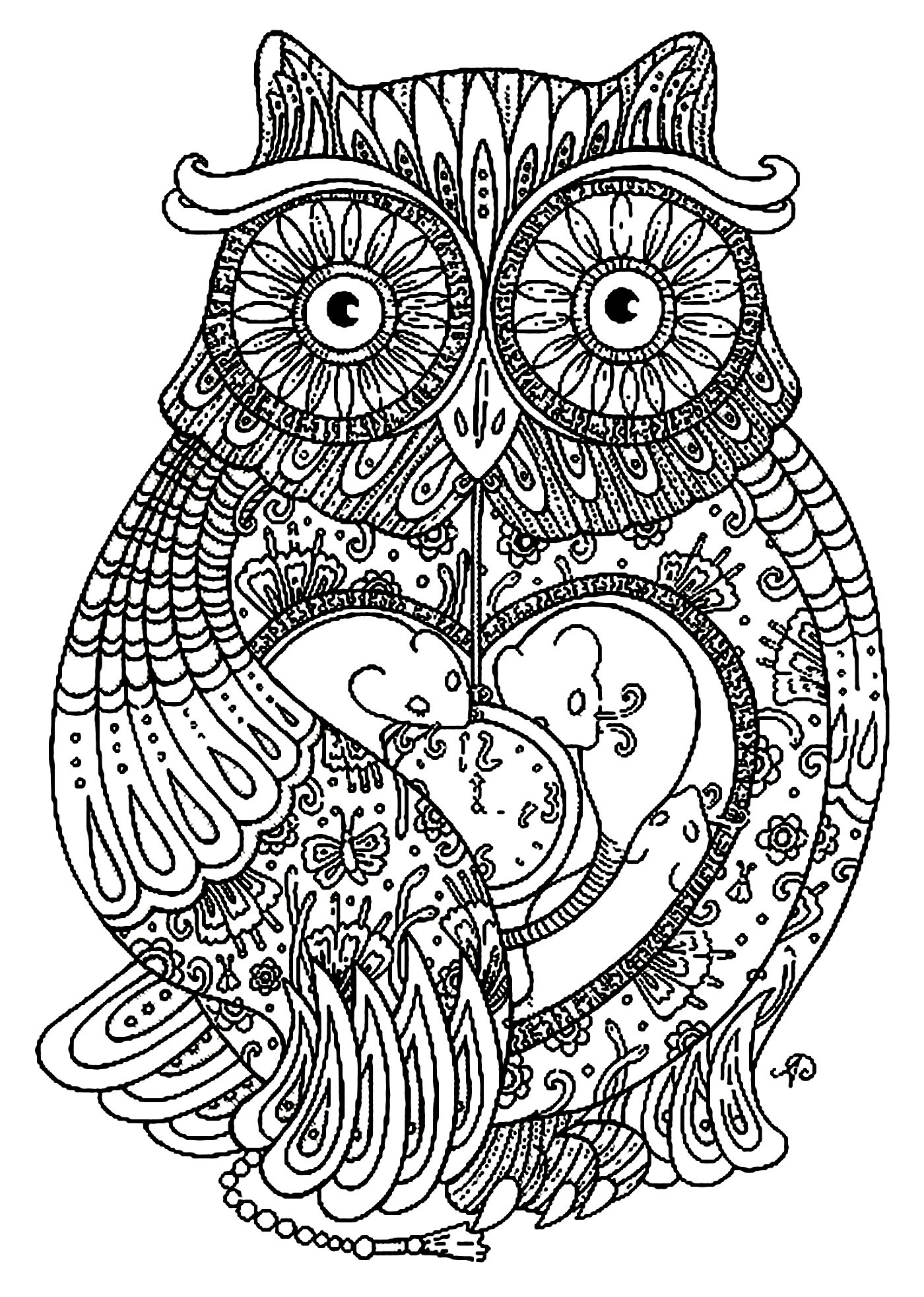 1400x1964 Abstract Owl Coloring Pages