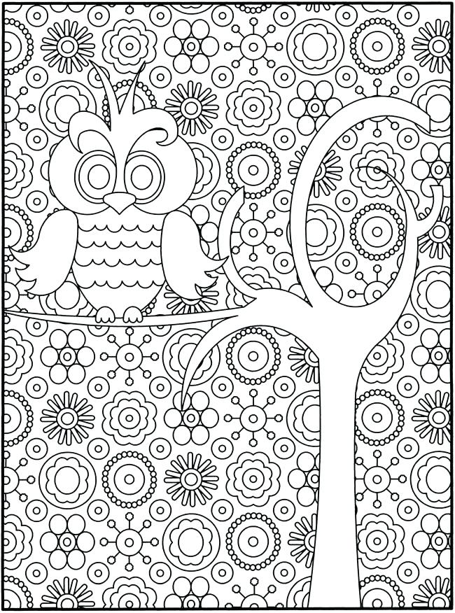 650x876 Owl Coloring Pages Detailed Owl Coloring Pages For Adults Abstract