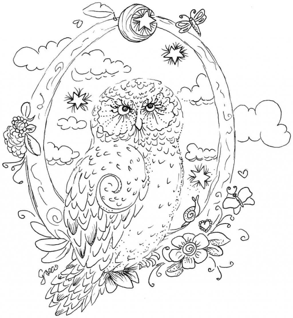 1024x1113 Coloring Pages Owl Coloring Pages Star Abstract Printable Adult