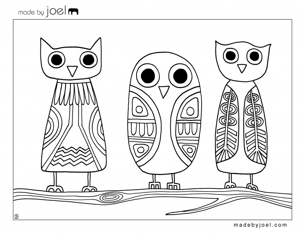 1024x791 Abstract Owl Coloring Pages