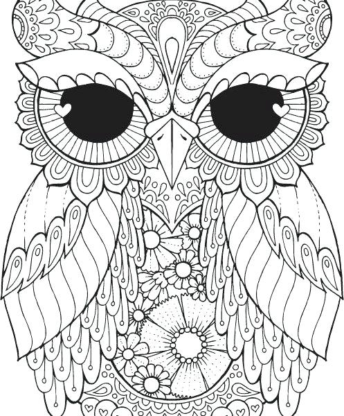 497x600 Abstract Owl Coloring Pages For Adults Kids Coloring Printable
