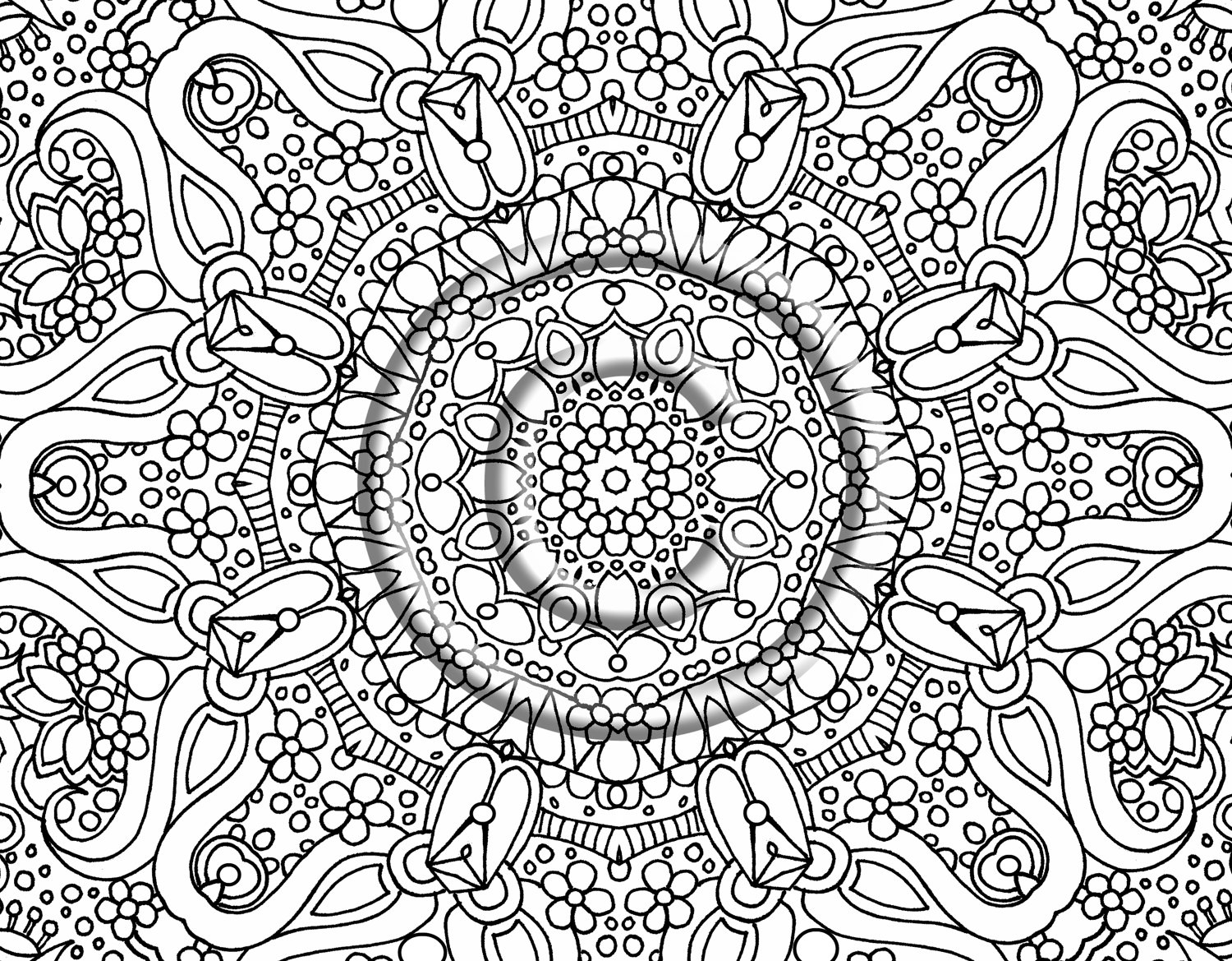 1500x1169 Awesome Unbelievable Flower Pattern Coloring Page With Hard