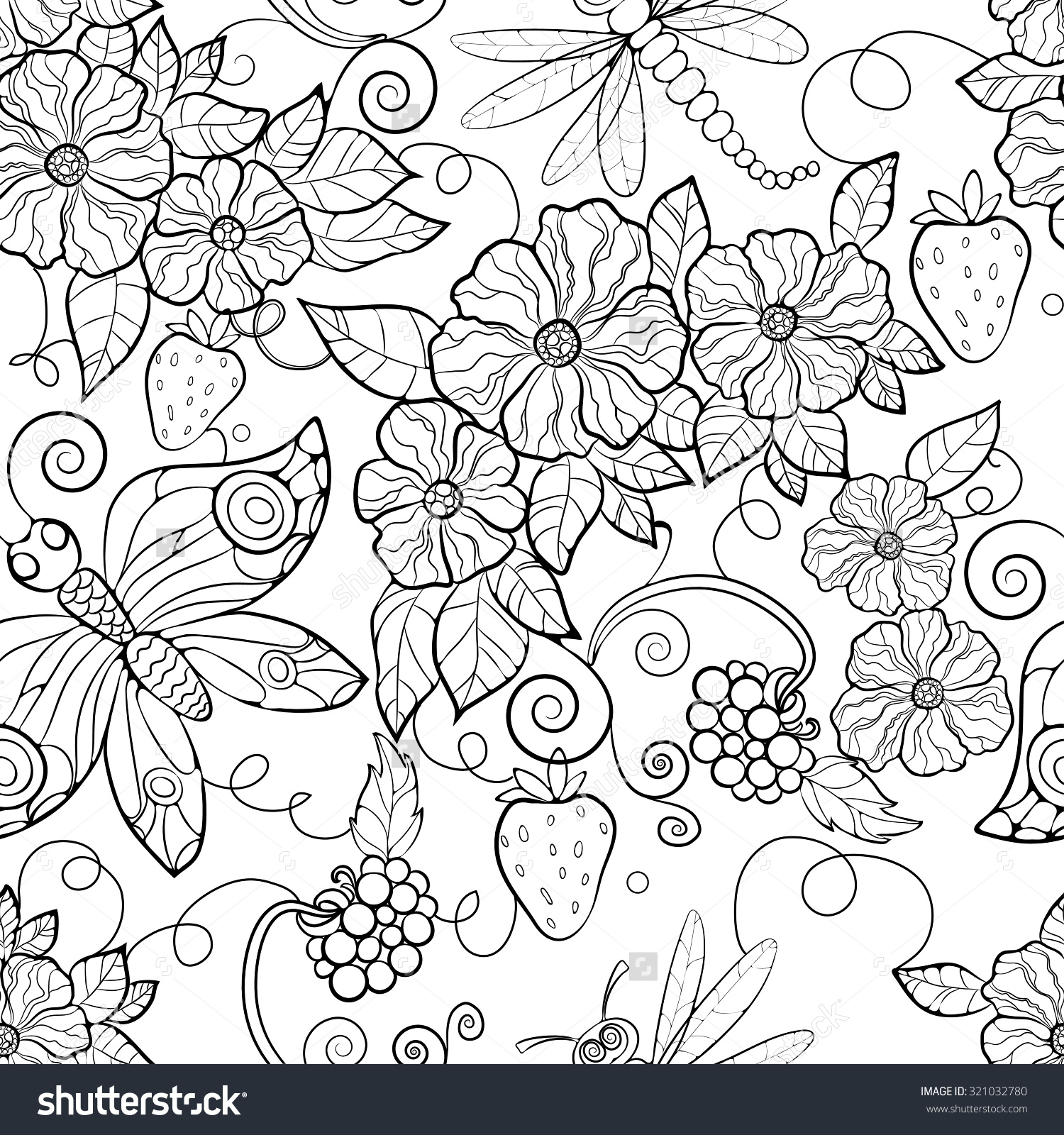 1500x1600 Fresh Flower Pattern Coloring Pages