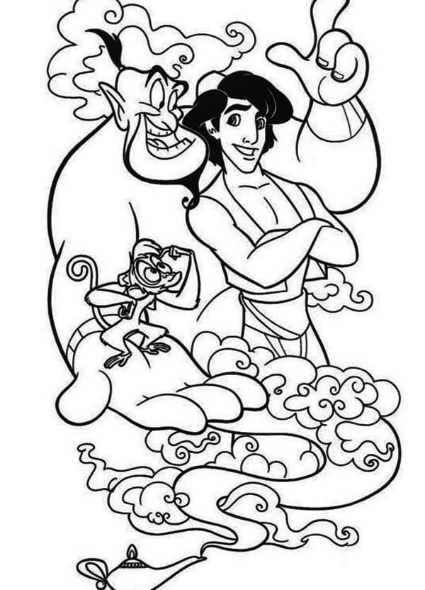 600x832 Aladdin And His Two Companion, Abu And Genie Coloring Page