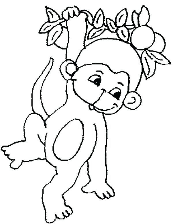 600x777 Picture Of Tree To Color Cute Baby Monkey Hanging On Tree Coloring