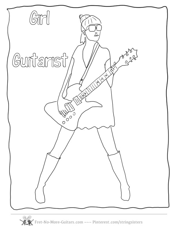 612x792 Girls Playing Guitar Coloring Rock Sheet Crokky Pages