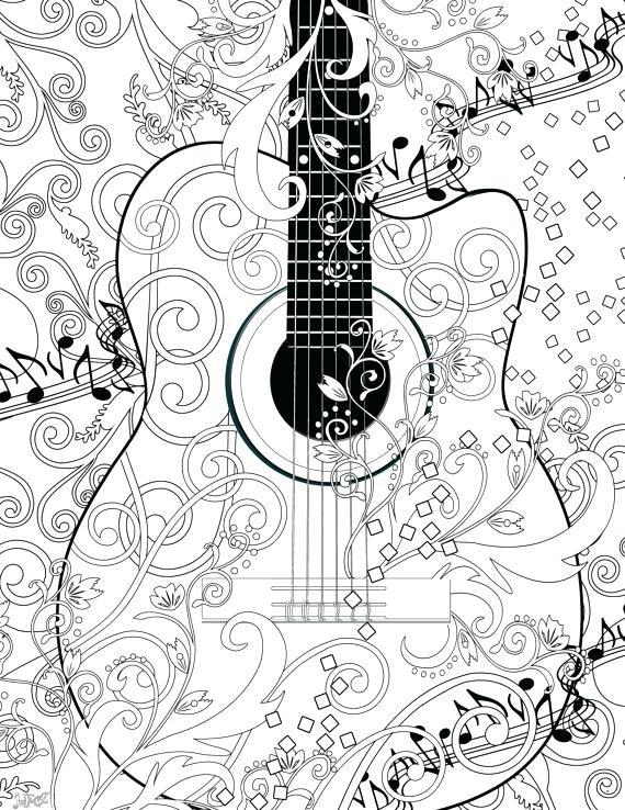 570x738 Guitar Coloring Pages Adult Coloring Page Printable Adult Guitar