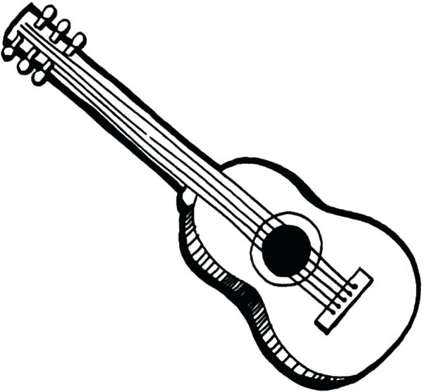 600x557 Acoustic Guitar Coloring Pages Free For Kids Best Coloring