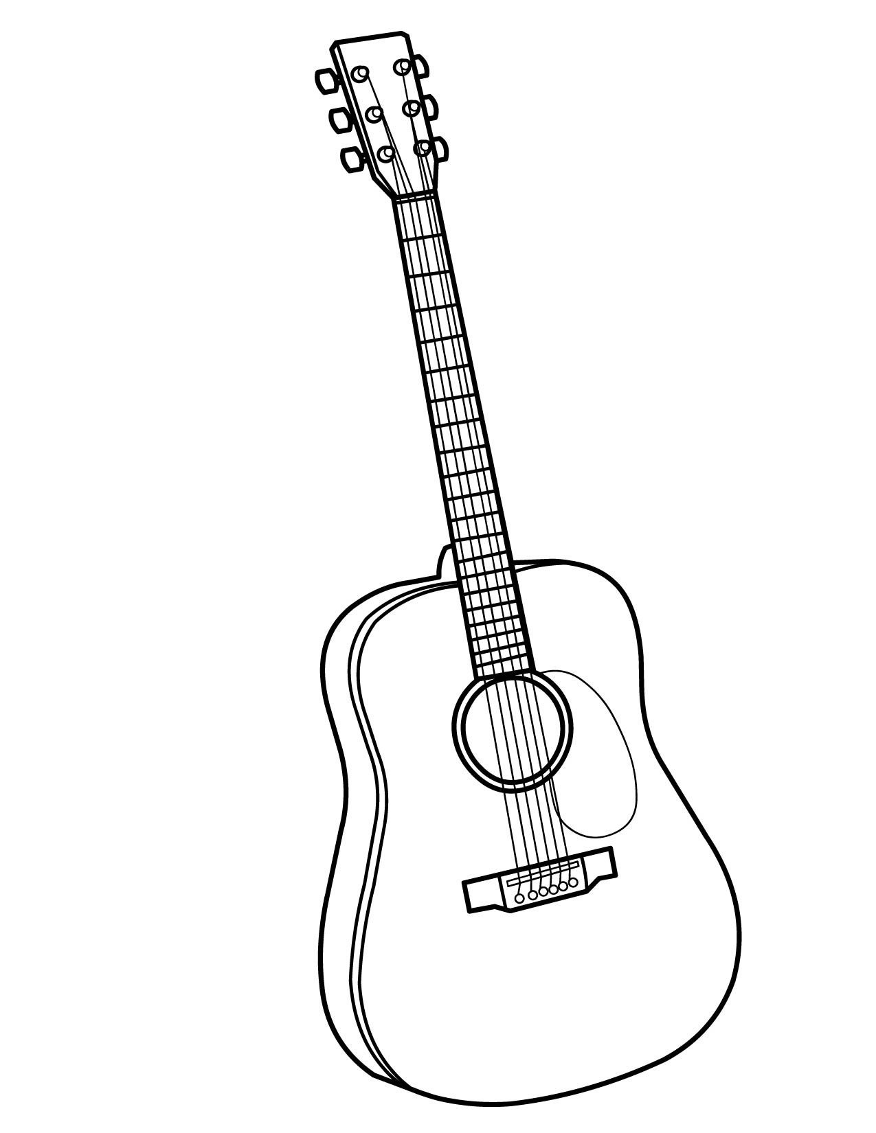 1275x1650 Simple Acoustic Guitar Coloring Page Best Pages Printable Free