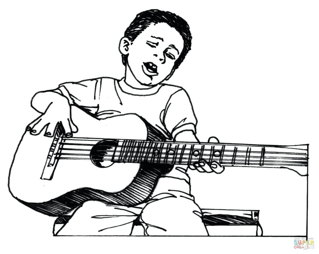 1024x816 Coloring Pages Guitar Coloring Pages Boy Plays Fender Guitar
