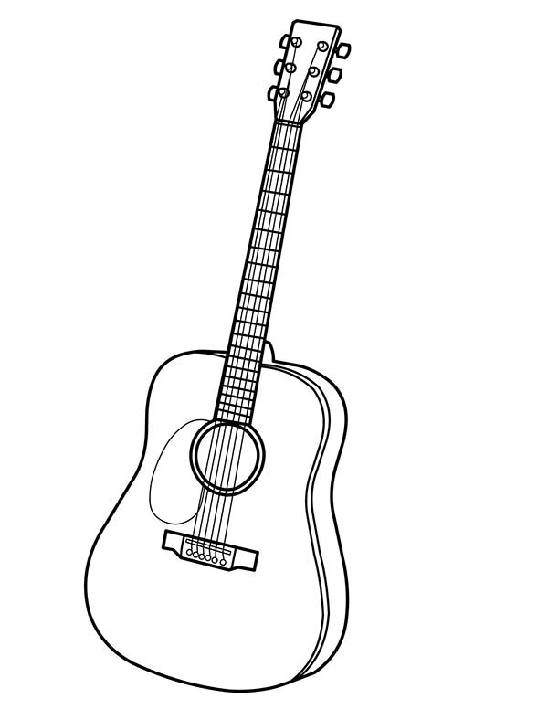 600x776 Guitar Coloring Pages Musical Instruments Acoustic Guitar Coloring