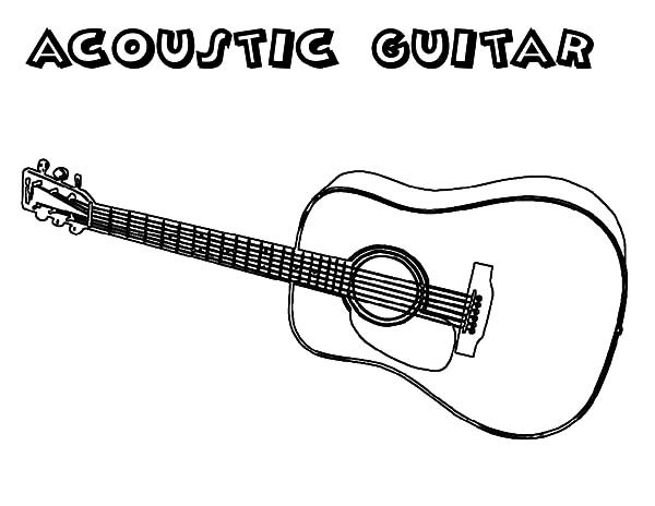 600x464 Acoustic Guitar Coloring Pages Color Bros