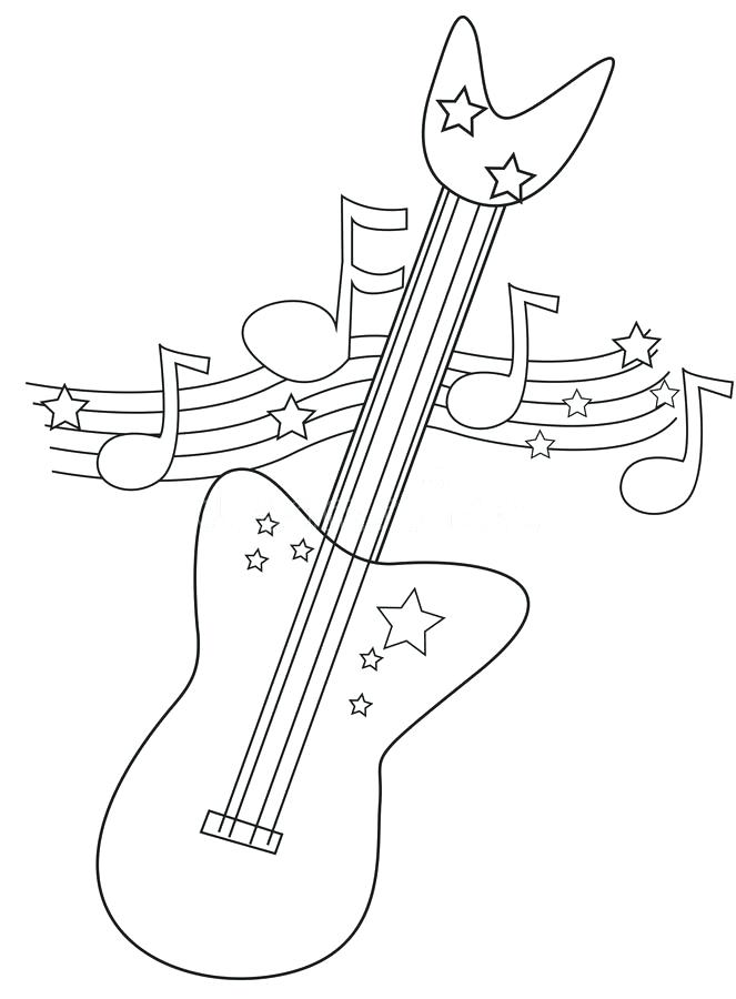 663x900 Coloring Page Outline Musical Instrument Acoustic Guitar Pages