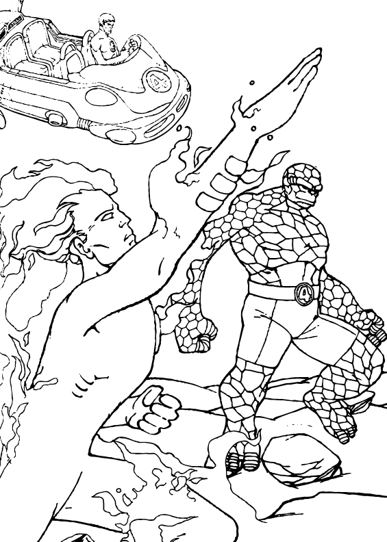 565x792 Human Torch In Action Coloring Pages