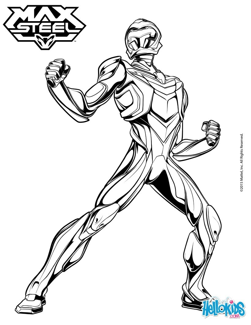 820x1060 Max Steel Is Ready To Jump Into Action Coloring Pages