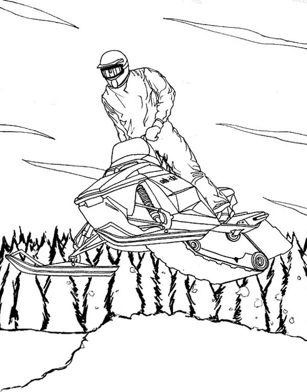 600x765 A Cool Winter Snowmobile On Action Coloring Page