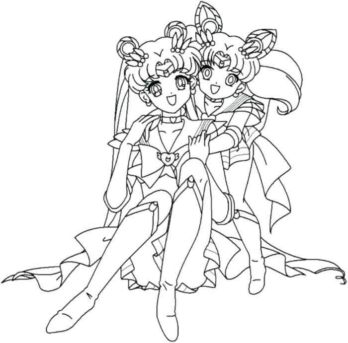 700x691 Sailor Moon Coloring Girls Action Coloring A And Hugging Coloring