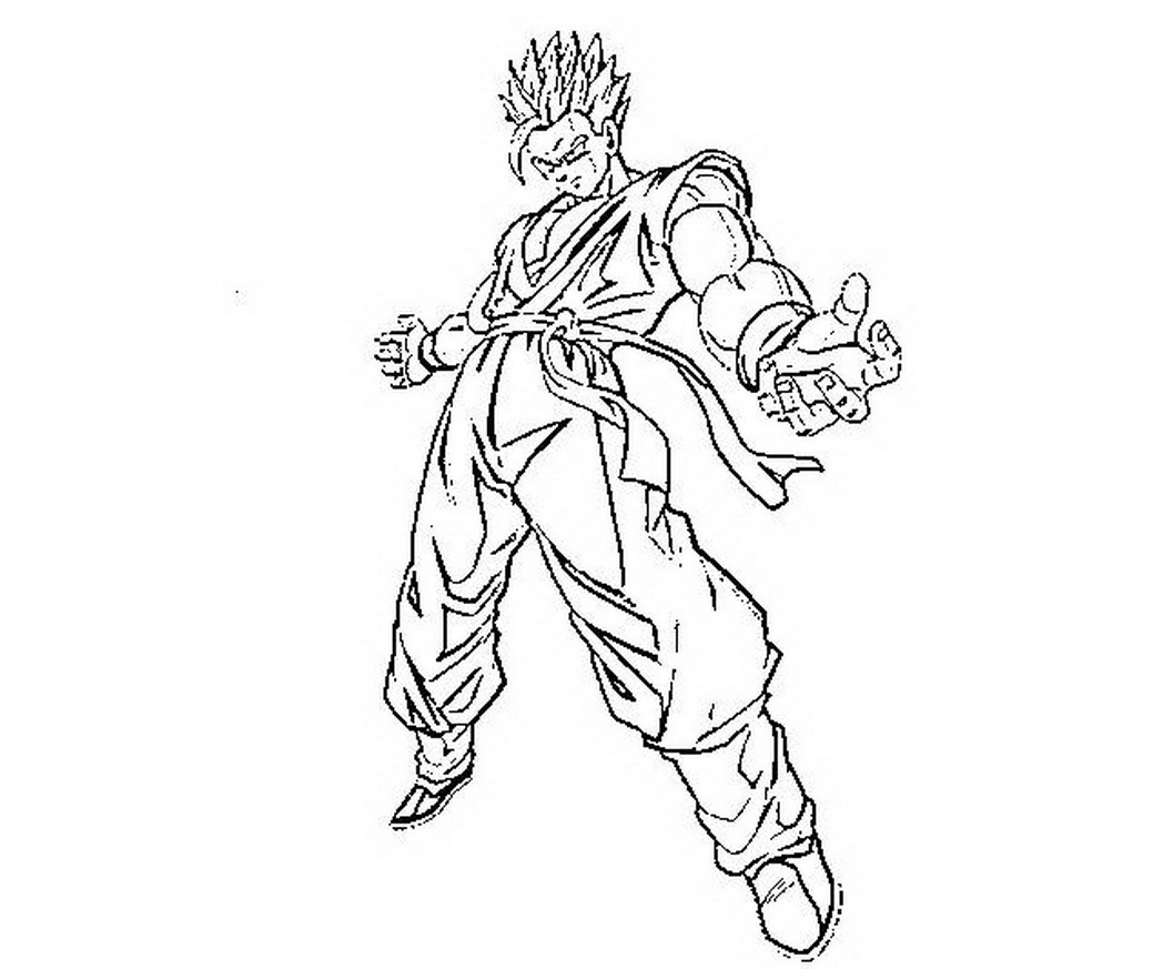 1048x873 Printable Dragon Ball Gohan Teen Ssj Action Coloring Pages
