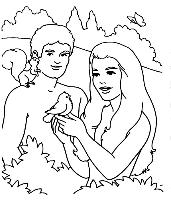 600x701 Adam And Eve, Adam And Eve Playing With Bird In The Garden Of Eden