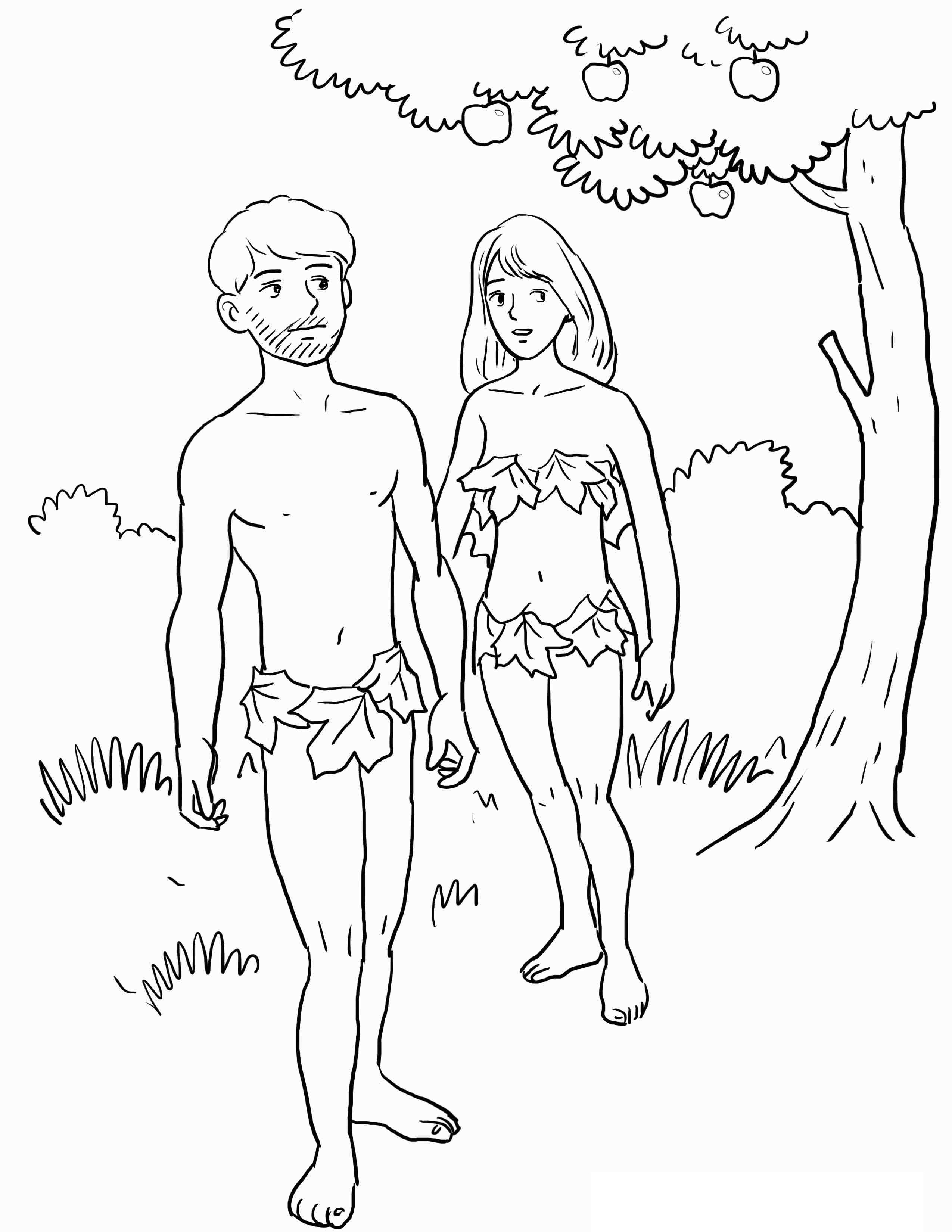 2550x3300 Free Printable Adam And Eve Coloring Pages For Kids