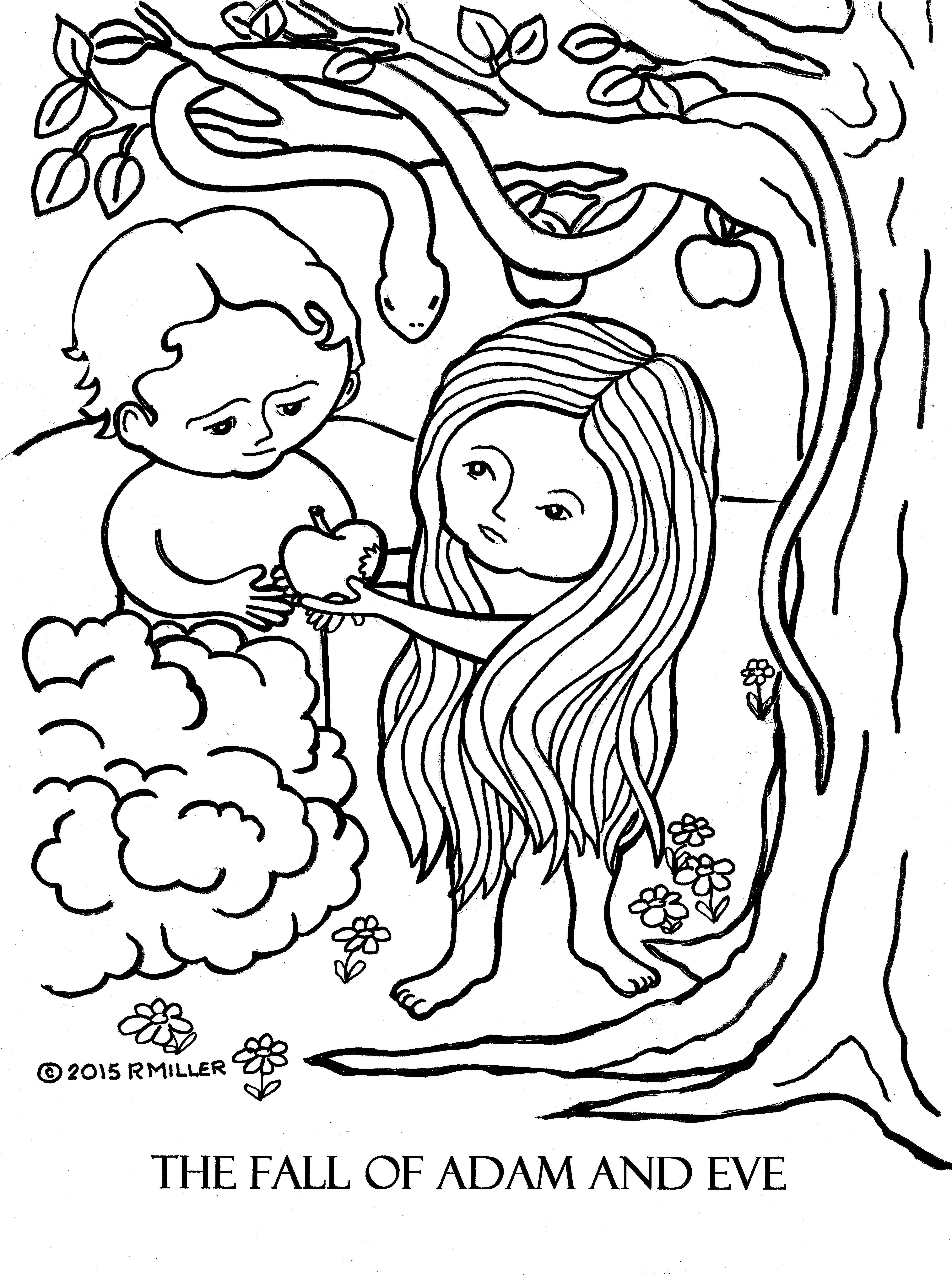 4936x6612 Adam And Eve Coloring Page Pages Free Draw To Color