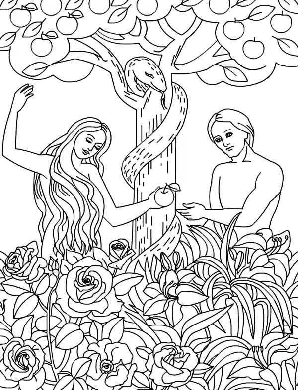 600x786 Adam And Eve Coloring Pages And Eve Coloring Sheets Adam Eve