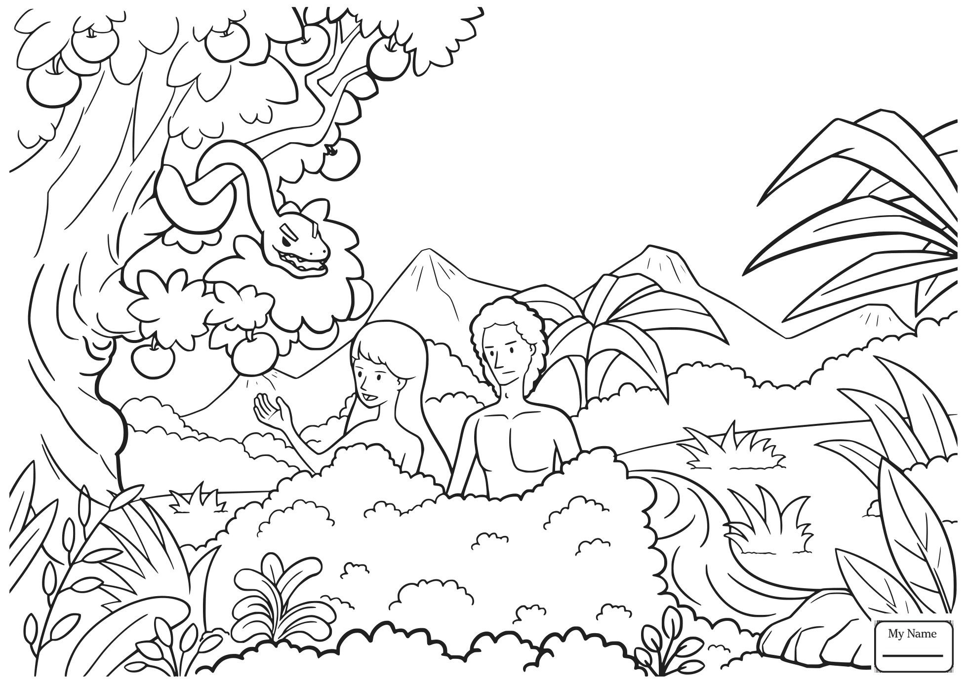 1958x1384 Marvelous Coloring Pages Adam And Eve Sketch For Image Of Style