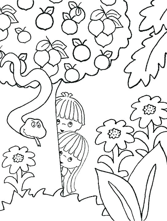 544x720 Adam And Eve Coloring Page Packed With Garden Of Coloring Page