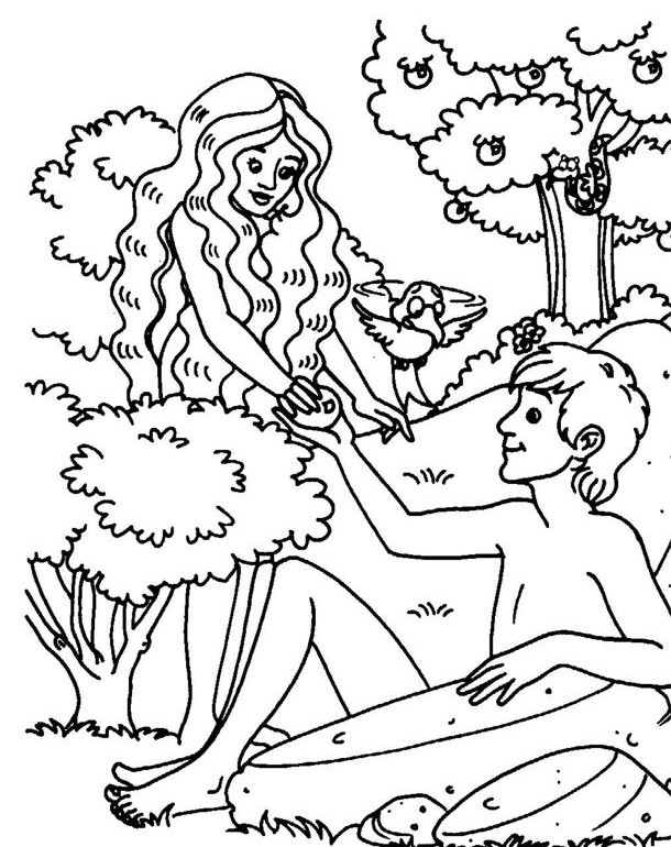 610x770 Adam And Eve Under The Apple Coloring Page