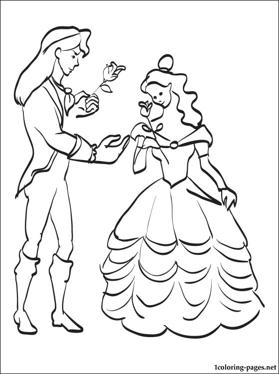 560x750 Prince Adam And Belle Coloring Page Coloring Pages