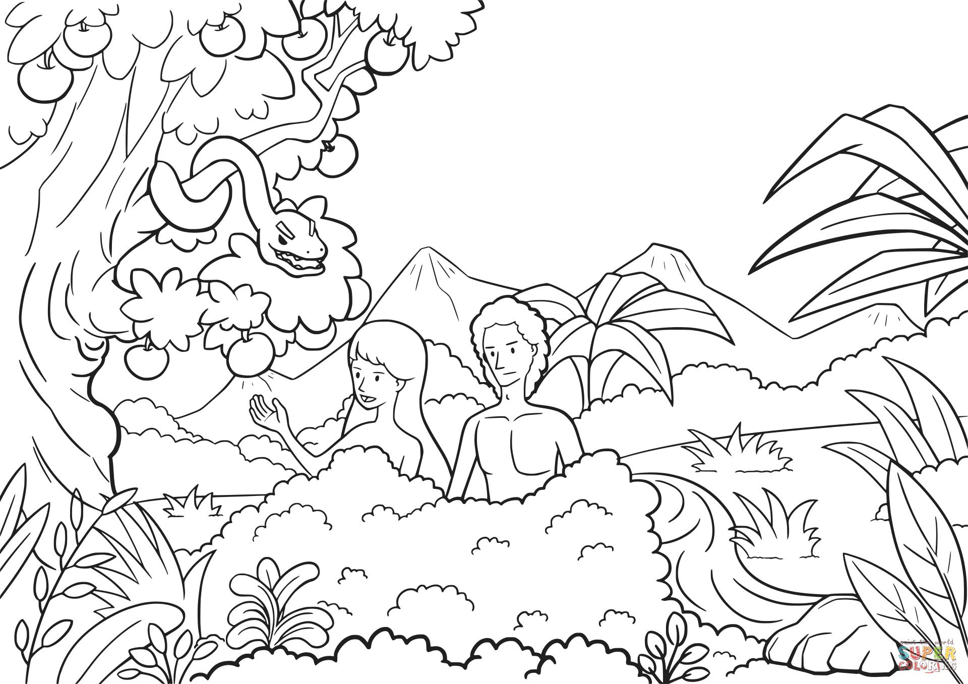 1920x1357 Wonderful Garden Of Eden Coloring Page Adam And Eve In The Pages