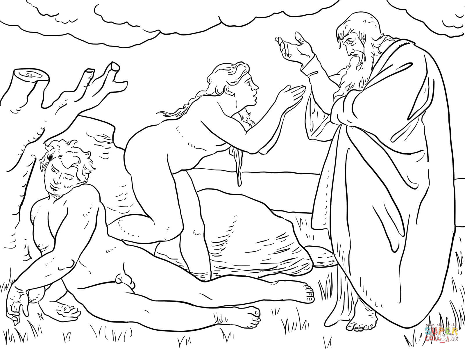 1600x1200 Adam And Eve Coloring Pages Free Outstanding