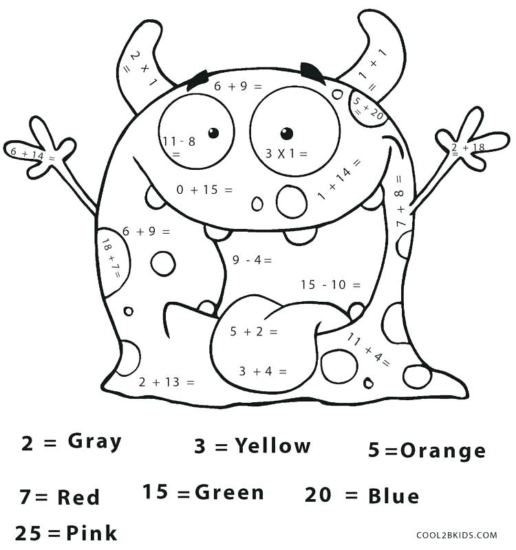 750x800 Addition Coloring Worksheets Lantern Maths Facts Colouring Page