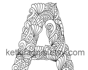 340x270 Letter M Colouring Page, Zentangle Art Inspired, Adults Coloring