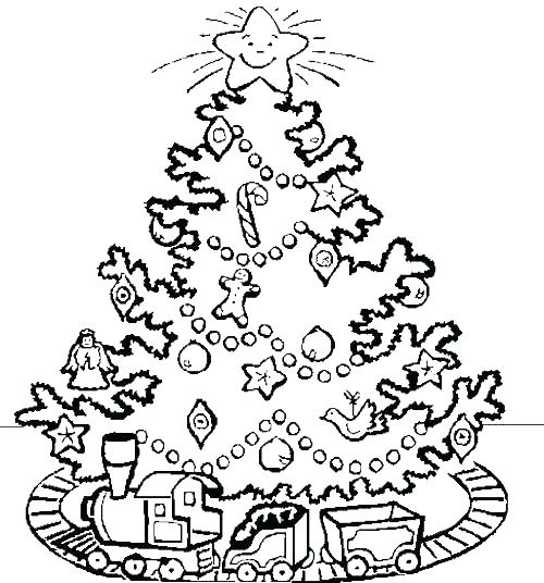 500x536 Christmas Tree Coloring Pages Beautifully Decorated Trees Coloring