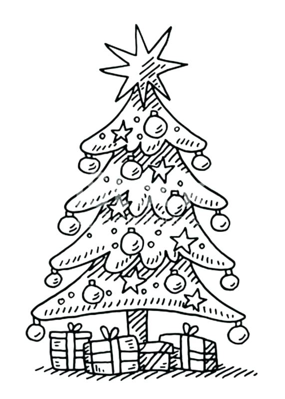 571x800 Coloring Pages Of Christmas Trees Print Adult Tree With Ornaments