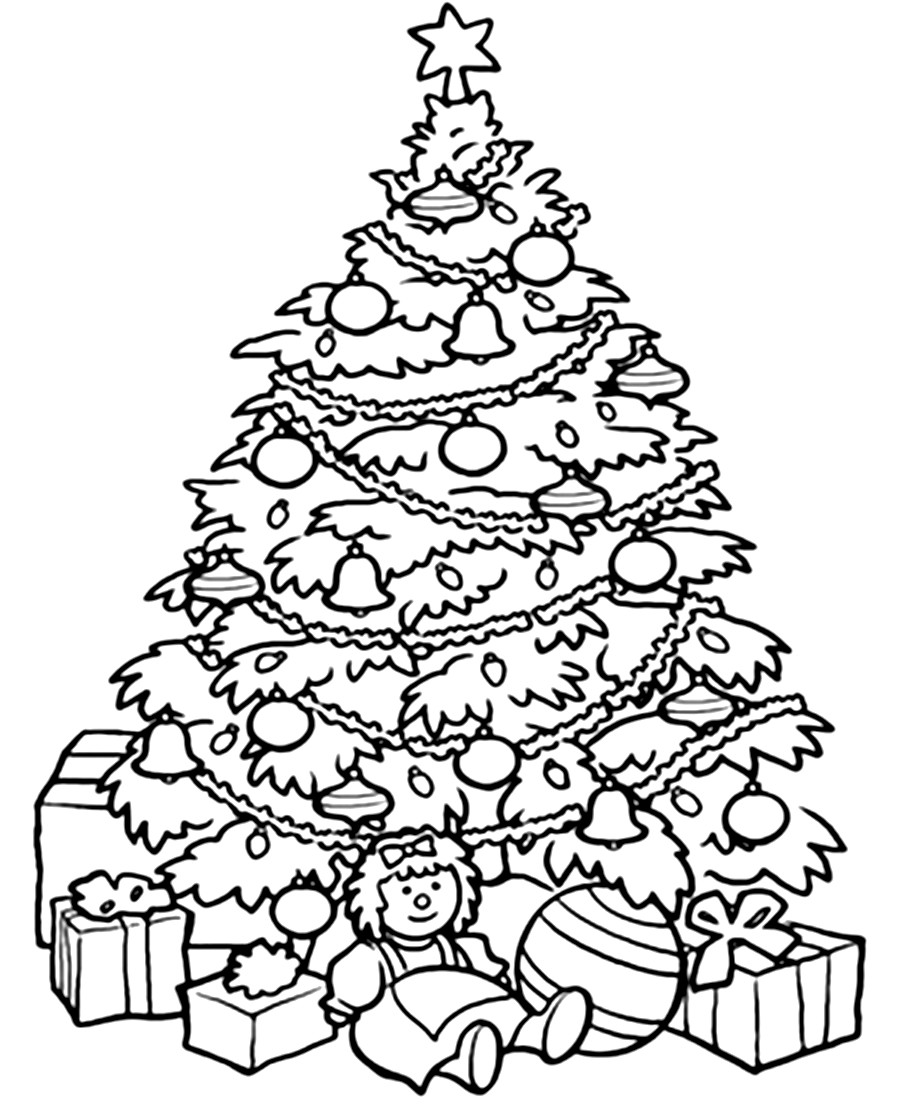 900x1104 Detailed Christmas Tree Coloring Pages For Adults