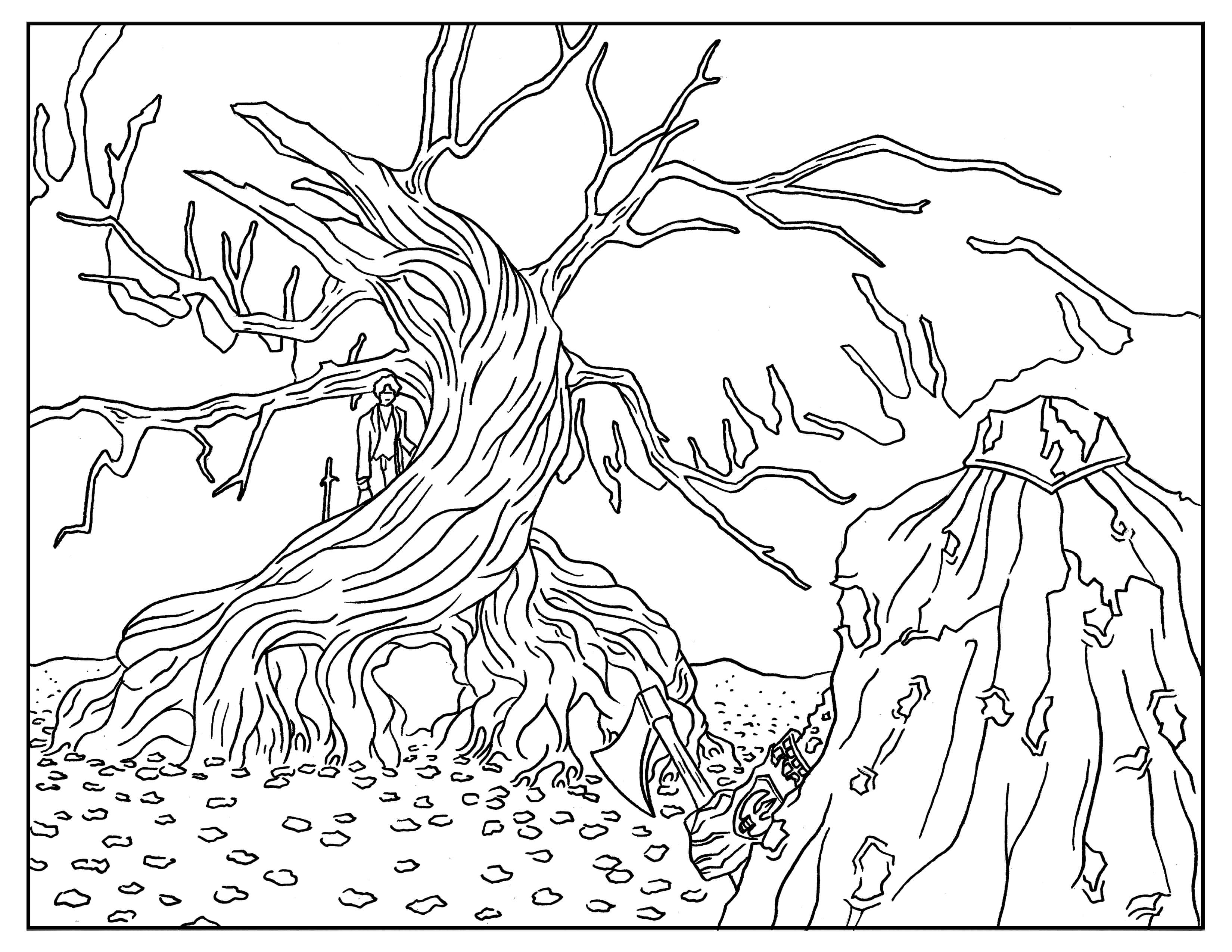 3300x2550 Nightmare Before Christmas Tree Coloring Pages Gallery Coloring
