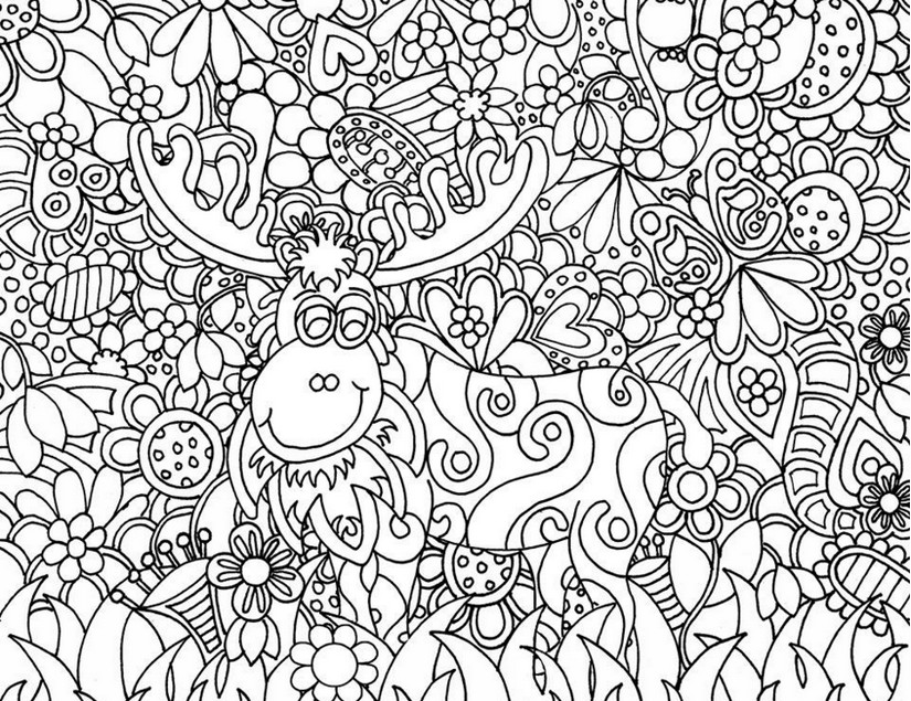 825x635 Adult Coloring Page Christmas Santa Claus's Reindeer
