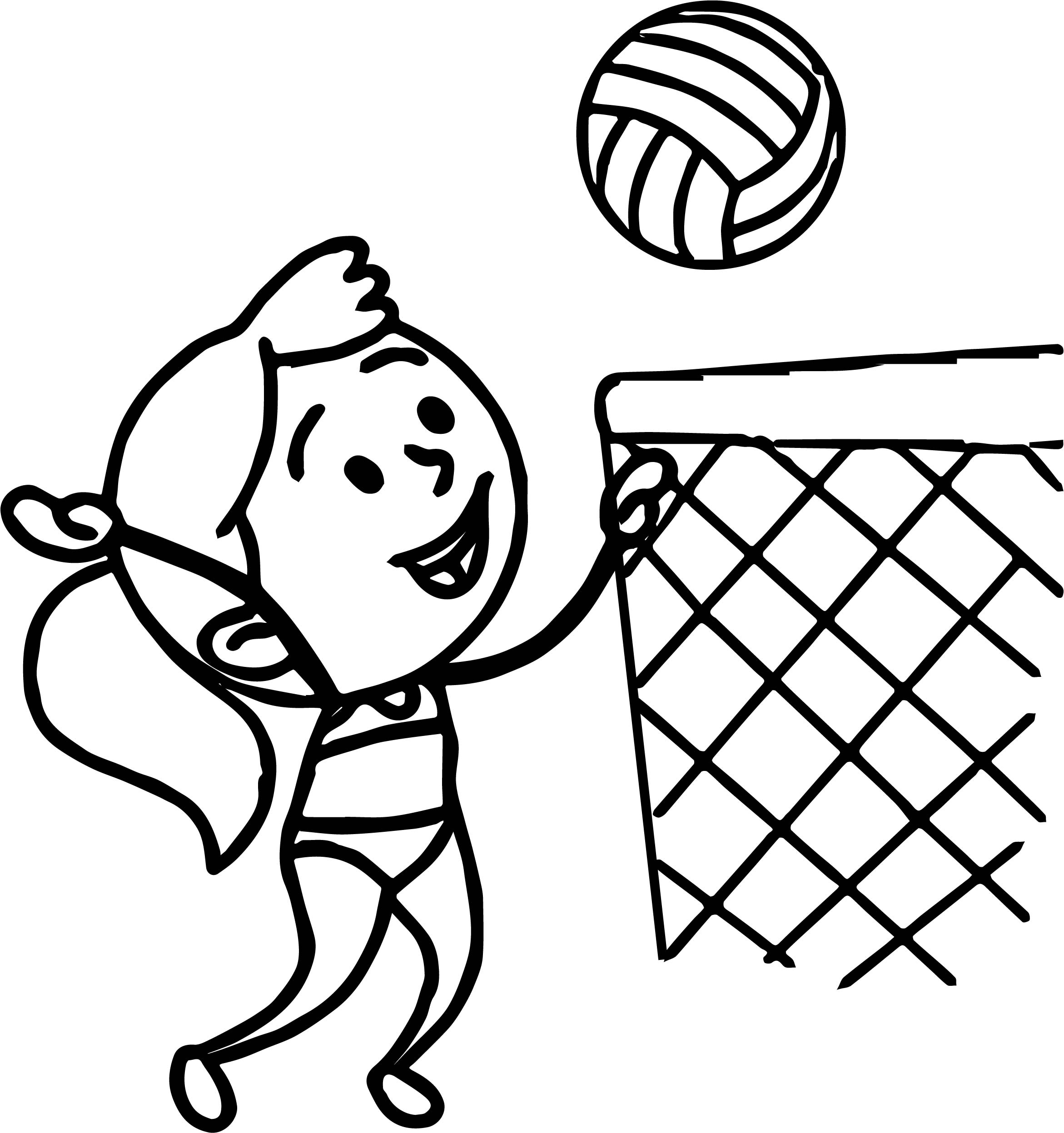 2342x2494 Cartoon Chubby Female Volleyball Player Jumping To Ball Sports