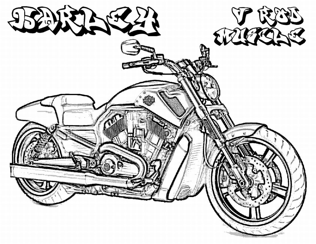 1109x857 Harley Davidson Coloring Pages Detailed Line Drawings Classic Cars