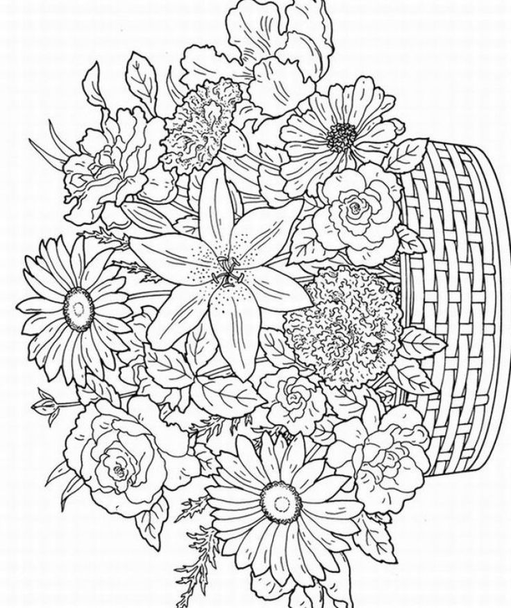 736x875 Adult Coloring Pages Colored Flowers Free